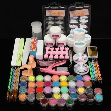 Artigianato Professional Acrilico Polvere Glitter UV Primer Art Nail Art Kit Pennello Pennello Manicure Kit Kit
