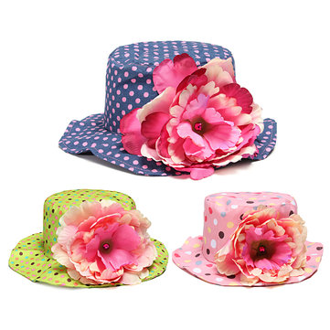 4bedd480 Kid Baby Infant Toddler Girl Cotton Flower Dot Summer Bucket Hat Sun Visor  Cap, Pink rose red green purple coffee blue