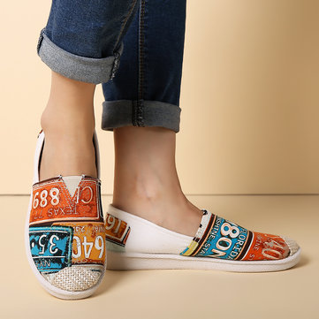 Printing Cloth Slip On Flat Loafers