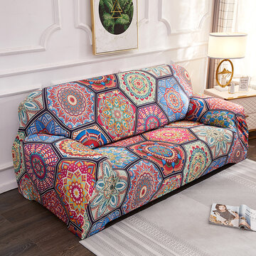 1/2/3/4 Seats Elastic Stretch Sofa Armchair Cover Couch Slipcover Bohemian Pattern Stretch All-Inclusive Sofa Cover