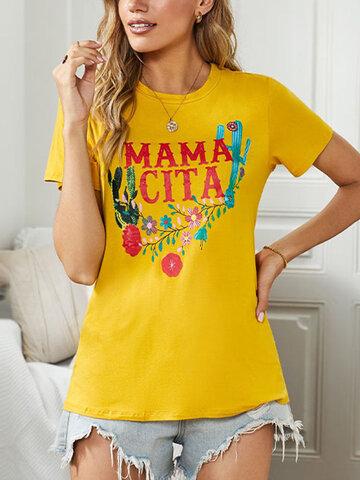 Letters Flower Print O-neck T-Shirt