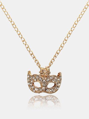 Rhinestone Gold Silver Fox Mask Pendant Necklace