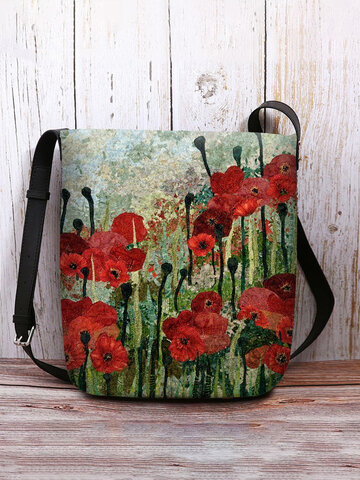 Red Floral Pattern Print Crossbody Bag