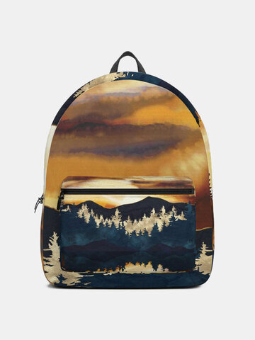 Oxford Sunset Glow Mountain Treetop Prints Backpack