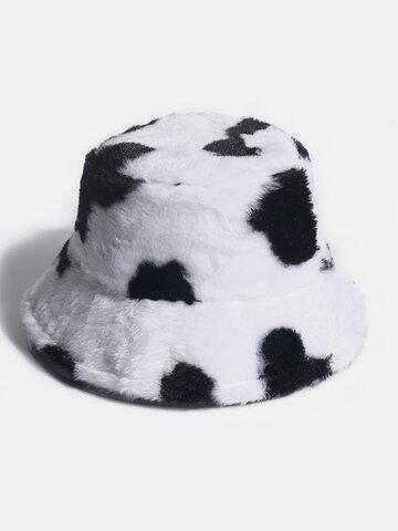 Women Rabbit Fur Warm Plush Cow Pattern Bucket Hat