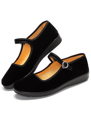 Ballerines Noir Plates En Toile À Boucle Pour Danser Chaussures Mary Jane Style Chinois