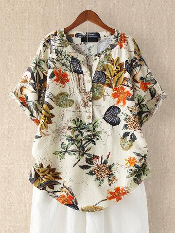 Vintage Flower Printed Short Sleeve V-Neck T-Shirt