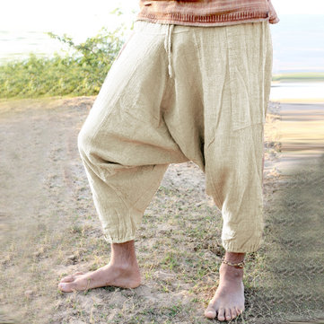 Cotton Loose Casual Crotch Trousers