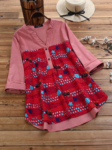 Casual Print Patchwork Blouse