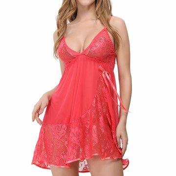Sexy Flower Lace Crocheted Bowknot Nightdress