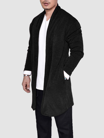 Mid-Long Solid Color Cardigan