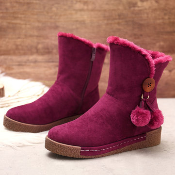 LOSTISY Furry Round Toe Winter Boots