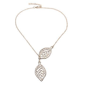 Style: Trendy [{}} Typ: Blatt Anhänger Halskette [{}} Farben zur Auswahl: Gold, Silber [{}} Material: Legierung [{}} Form: Pflanze [{}} Kettenlänge: Ungefähr 43cm + 5.5cm