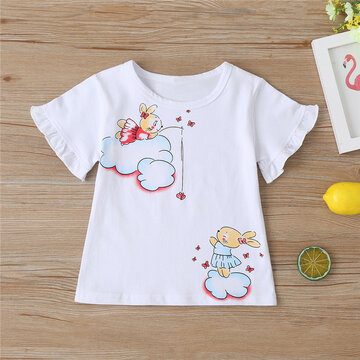 Girl's Cartoon Print Casual T-shirt For 2-8Y