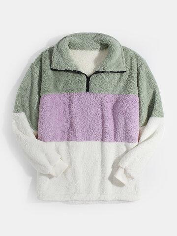 Patchwork Fluffy Teddy Sweatshirts
