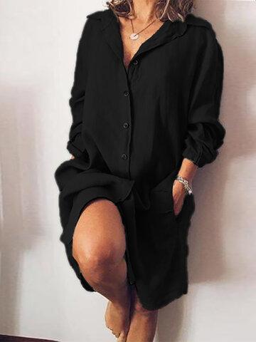 Casual Solid Color V-neck Dress