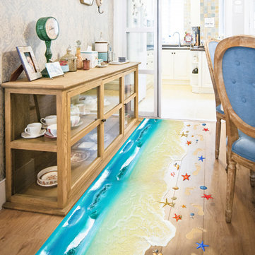 [{}} 3D Wall Bodenaufkleber Removable Beach Art Heimtextilien