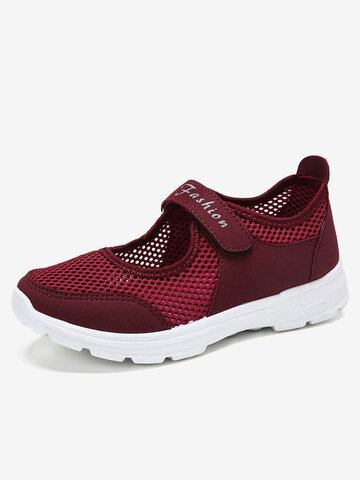 LOSTISY Outdoor Mesh Breathable Comfy Hook Loop Sneakers