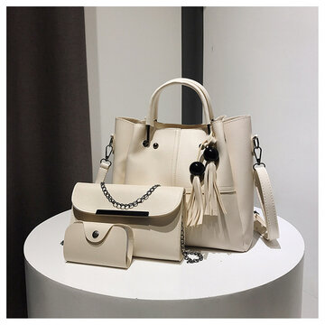 Women Faux Leather 3Pcs Handbag Crossbody Bag Clutch Bag