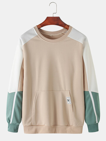 Cotton Color Block Stitching Sweatshirts