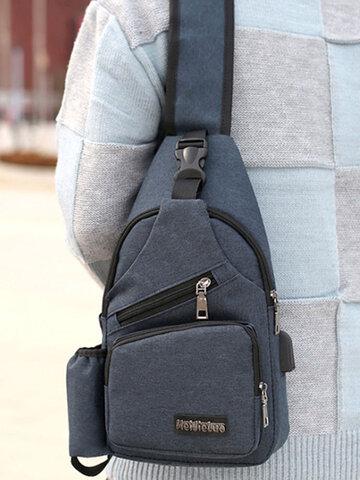 Large Capacity Outdoor Travel USB Charging Port Sling Bag