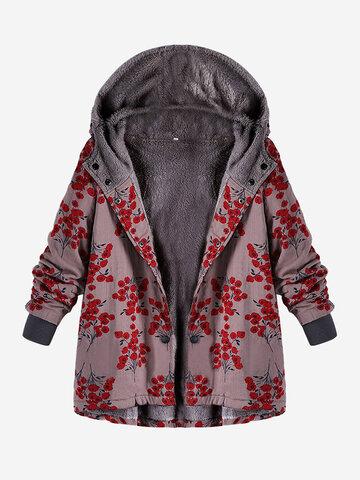 Abrigo con capucha estampado floral