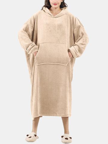Flannel Wearable Blanket Long Hoodies