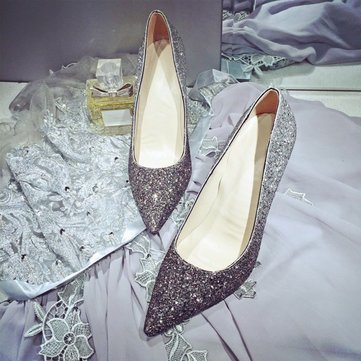 Silver Shiny Paillette Pointed Toe High Heel Sexy Pumps For Lady