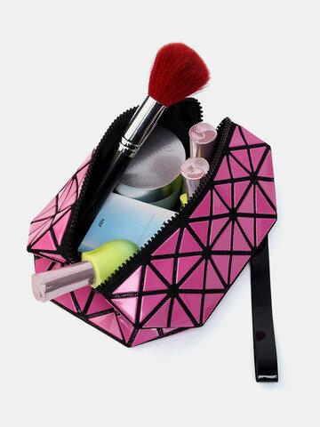 Lingge 3D Diamond Pattern Cosmetic Bag Large Capacity Women Makeup Tools Organizer