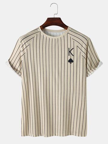 ストライプポーカーKプリントTシャツ