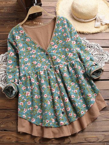 Blusa manga comprida com estampa floral V Neck