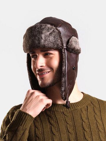Collrown Men Faux Leather Velvet Winter Keep Warm Trapper Hat
