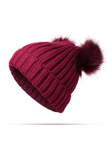 Knit Pom Pom Bucket Beanie Cap