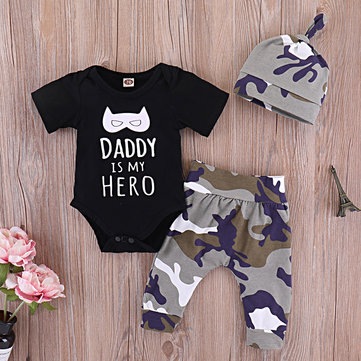3Pcs Letter Print Baby Set For 0-24M