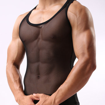 Mens Quick Dry Breathable Ice Silk See Through Undershirt