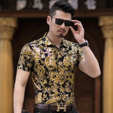 New Mercerized Cotton Short-sleeved Shirt Male Middle-aged Men's Fashion Printed Casual Short-sleeved Shirt Dad Shirt