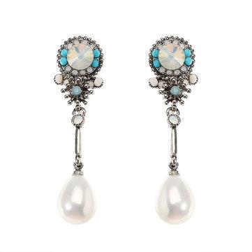 JASSY® Bohemian Pendientes de perlas florales