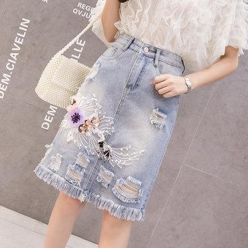 High-waist Embroidered Denim Skirt In The Long Section Of The Skirt Female New Slimming Hole Raw A Skirt Skirt