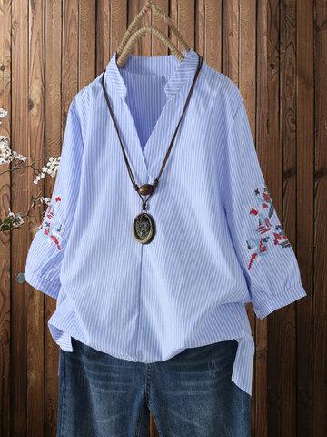 Cuello de pico con estampado de rayas bordado Camisa