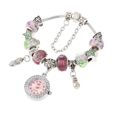 Murano Glass Beads Bracelet Watch