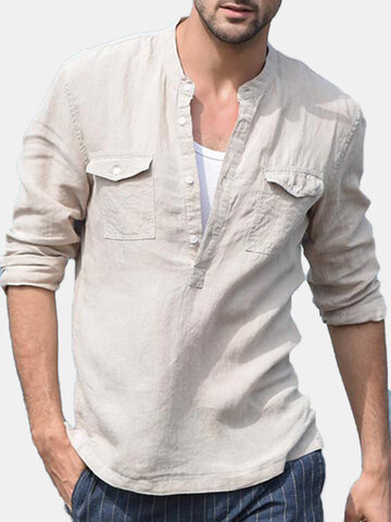 Casual Solid Color Stand Collar Cotton Shirt