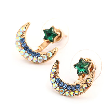Moon with Stars Stud Earrings