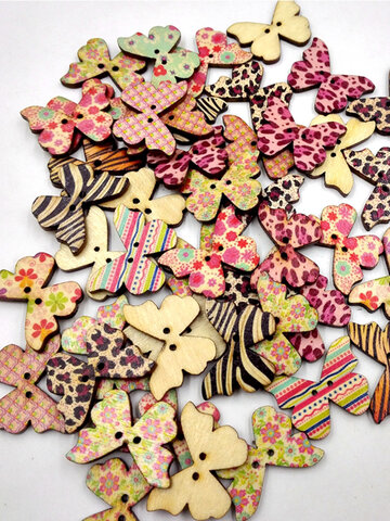 50 Pcs Leopard Butterfly Painted Wooden Sewing Buttons