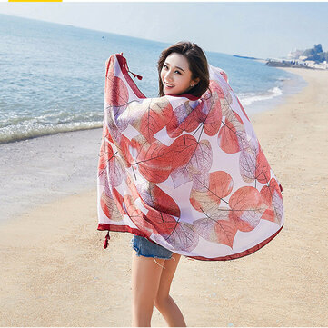 Womens Priting Colorful Sunshade Beach Scarves Shawl Wraps Breathable Soft Fashion Scarf