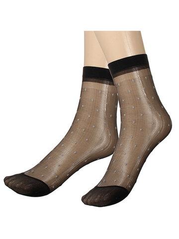 10 pairs Lady Girl Lace Ultra-thin Fiber Denier Sheer Ankle High Pop Dots Socks