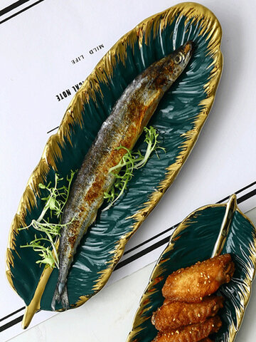 Phnom Penh Dark Green Feather Banana Leaf Plate Retro Jewelry Plate Storage Plate Dessert Plate Home Decoration