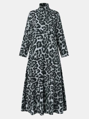 Leopard Print High Neck Long Dress