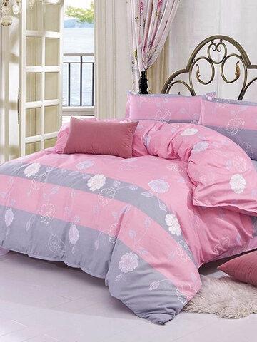 3/ 4PCS Pink Flower Reactive Printing Bed Cover Bedding Set