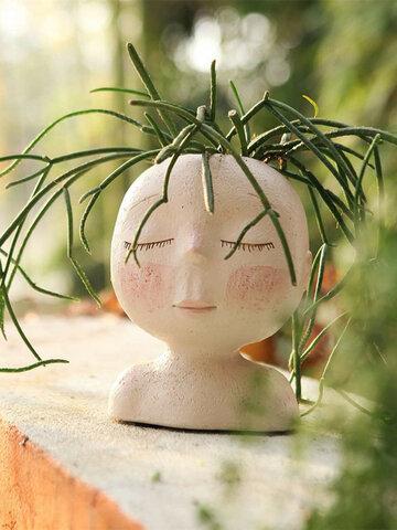 Nordic Sleeping Face Human Head Portrait DIY Painting Dress Up Vase Doll Shape Sculpture Home Decor Succulents Resin Portrait Flower Pot