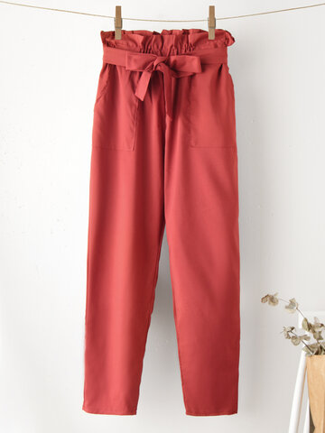 Solid Color Ruffle Knotted Cropped Pants
